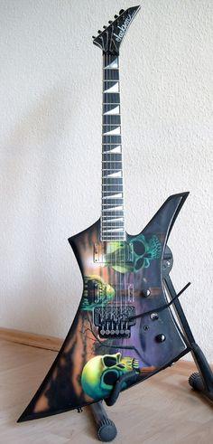 Custom Megadeth Addicted to Chaos Jackson Explorer electric Guitar Drawing, Guitar Art, Cool Guitar, Jackson Guitars, Play That Funky Music, Bass Amps, Custom Guitars, Playing Guitar, Instruments