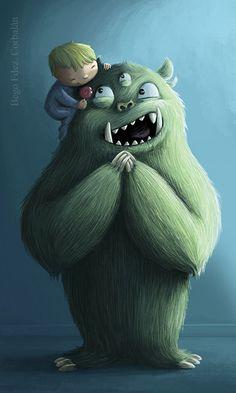 Cute art with monsters Monster Art, Monster Squad, Creepy Monster, Mini Monster, Cute Monster Illustration, Children's Book Illustration, Illustrations, Cute Monsters, Little Monsters