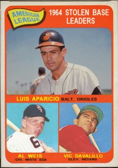 Baseball Cards That Never Were: 1965 Topps AL Stolen Base Leaders: Luis Aparicio, Baltimore Orioles, Al Weis, Chicago White Sox, Vic Davalillo, Cleveland Indians