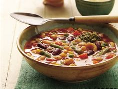 Slow Cooker 2 Bean Minestrone -- 1 can (15 oz) Progresso® dark red kidney beans, drained - 1 can (15 oz) Green Giant® garbanzo beans, drained - 1 bag (12 oz) Green Giant® Valley Fresh Steamers® frozen mixed vegetables - 1  can (14.5 oz) diced tomatoes with basil, garlic and oregano, undrained - 1 large vegetarian vegetable bouillon cube - 1 can (11 oz) vegetable juice - 1 cup water - 1/2 cup uncooked elbow macaroni - 1 container (7 oz) refrigerated basil pesto Slow Cooker Baked Beans, Slow Cooker Beef, Slow Cooker Recipes, Crockpot Recipes, Soup Recipes, Salad Recipes, Freezer Recipes, Family Recipes, Freezer Meals
