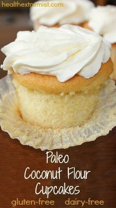 Vanilla Paleo Cupcakes Recipe (Gluten-free and Dairy-free). Soft and fluffy cupcakes! Made with just coconut flour! Vanilla Paleo Cupcakes Recipe (Gluten-free and Dairy-free). Soft and fluffy cupcakes! Made with just coconut flour! Paleo Cupcakes, Gluten Free Cupcake Recipe, Dairy Free Recipes, Coconut Cupcakes, Gluten Free Coconut Cake, Coconut Flour Cakes, Paleo Cake Recipes, Desserts With Coconut Flour, Coconut Flour Recipes Keto