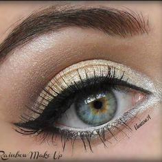 Gold and neutral toned eye makeup never go out of style! Wear this beautiful makeup for any special occasion.