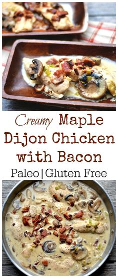 Chicken mushrooms and bacon bathed in a creamy maple dijon sauce. So simple and sooo GOOD! Paleo and GF. Chicken mushrooms and bacon bathed in a creamy maple dijon sauce. So simple and sooo GOOD! Paleo and GF. Whole Food Recipes, Diet Recipes, Cooking Recipes, Healthy Recipes, Paleo Food, Paleo Bacon, Paleo Chicken Recipes, Bacon Bacon, Paleo Meals