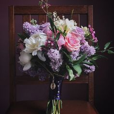 Soft and beautiful vintage wedding bouquet.