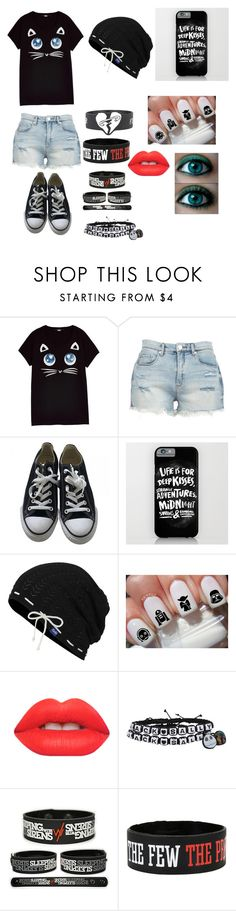"""""""Emo/Nerd girl"""" by emo-goth ❤ liked on Polyvore featuring Karl Lagerfeld, BLANKNYC, Converse, Keds and Lime Crime"""