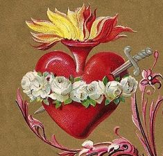 Reveals the occult origins of the heart symbols of St. Valentine's Day, explains the Sacred Heart of Jesus, Immaculate Heart of Mary, Catholic mysticism. Blessed Mother Mary, Blessed Virgin Mary, Religious Images, Religious Art, Sacred Heart Tattoos, Jesus E Maria, Mama Mary, Heart Of Jesus, Holy Mary