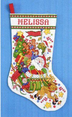 "Cross Stitch Stocking Kit ""Santa Sleigh"" ""Santa's Express"" Joan Elliott-MINT-SEE"