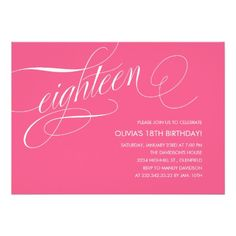 Hot Pink 18th Birthday Party Invitations