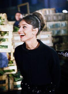 Audrey Hepburn filming Charade, 1963.