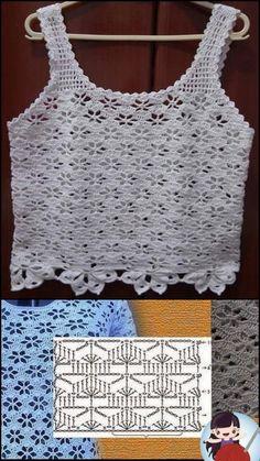 Débardeurs Au Crochet, Crochet World, Crochet Diagram, Crochet Blouse, Free Crochet, Crochet Stitches Patterns, Stitch Patterns, Crochet Summer Tops, Crochet Decoration