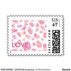 PINK SAFARI - LOVE Pink Leopard print  postage stamps  http://www.zazzle.com/pink_safari_love_pink_leopard_print_postage_stamp-172707753832173037?rf=238731775801296307