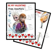 24 DISNEY FROZEN Valentines Day Card HOLDS LOLLIPOP Personalized FREE SHIPPING