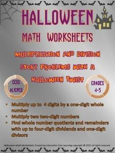 ... digit dividends and one-digit divisors.The Halloween story problems