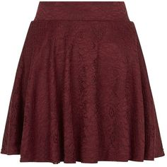 Teens Burgundy Flounce Lace Skater Skirt ❤ liked on Polyvore featuring skirts, burgundy circle skirt, ruffle skirt, red flared skirt, knee length lace skirt and frilly skirt
