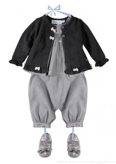 Cool baby clothing black jacket with pink ribbon detail and grey jumper from Chocolat et Tartine
