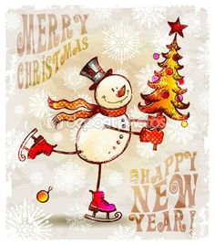 Картинки по запросу снеговики на коньках рисунки