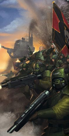 40k Cadian Shock Troops regiment in the thick of battle