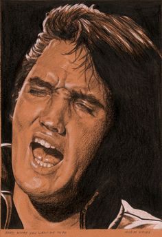 Elvis in Charcoal number 34 for 2015. Baby, what you want me to do, Charcoal, White chalk and Ink on colored paper, 15 x 21 cm. www.elvis-art.com