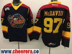 Men's Erie Otters #97 Connor McDavid Black Stitched OHL Hockey Jersey