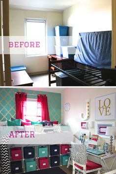 Dorm Room - Before and After via At Home With Nikki!