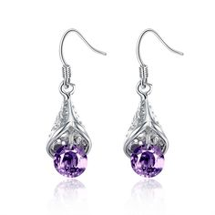>> Click to Buy << Lose Money Promotion! Wholesale Plated Silver Earrings, Plated Silver Jewelry,  Purple Created Amethysts Crystal Drop Earring #Affiliate