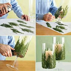 Great idea! Some sprigs, a glass or a jar you don not need any more - there it is. A beautiful table lantern or vase.