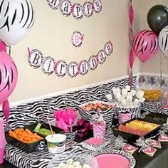 Zebra Diva Birthday Party Ideas {Birthday Party Ideas for Girls} This Zebra Diva Party can be for a girl of any age! I created it for my 6 year old. Diva Birthday Parties, 18th Birthday Party, Pink Parties, Birthday Crafts, Birthday Ideas, Diva Party Decorations, Decoration Table, Pink Zebra Party, Zebra Birthday
