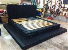 Beautiful DIY Pallet Black Bed | Pallets Furniture Designs