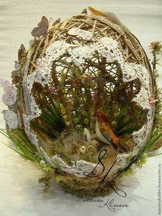 """Купить """" ФАБЕРЖЕ"""" - Пасха, яйцо, колоски, пшеница, искусственные цветы, бабочки, мох, сизаль"""