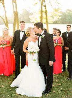 Anne Barge bride Tara chose a poppy red color palette for her elegant wedding. Photographer » Lindsay Madden Photography