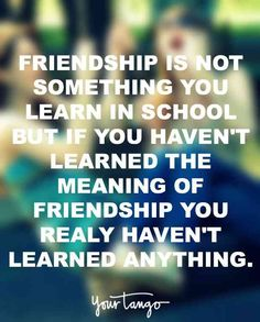 """Friendship is not something you learn in school, but if you haven't learned the meaning of friendship you really haven't learned anything."""