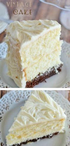 I think a cake dessert bar would be very English. This Vintage Cake combines two layers of white cake, with a surprise brownie layer soaked in a decadent chocolate sauce. And the cream cheese frosting takes it right over the top! 13 Desserts, Dessert Recipes, Frosting Recipes, Bon Dessert, Just Cakes, Cake In A Can, Decadent Chocolate, Cookies Et Biscuits, Iced Cookies