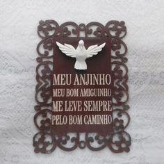 Placa mdf com oração e Divino Espirito Santo de resina