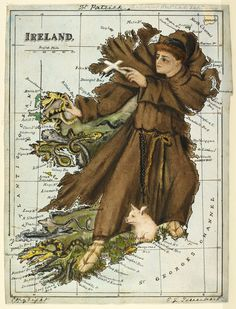 Happy St. Patrick's Day! Here's Lilian Lancaster's 19th century caricature map of Ireland showing St. Patrick commanding all the reptiles to leave Ireland. How will you be celebrating St. Patrick's Day?