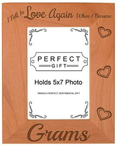 Grandma Gift Fell In Love When I Became Grams Natural Wood Engraved 5x7 Portrait Picture Frame Wood ** This is an Amazon Affiliate link. Check out this great product.
