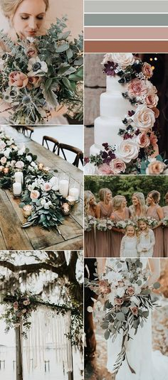 Wedding Themes sage green and dusty rose wedding color ideas - When considering wedding trends for I'd keep coming back to pretty neutral wedding color palettes. Since elegant shades of grey, a mix of ivory. Neutral Wedding Colors, Dusty Rose Wedding, Wedding Color Schemes Fall Rustic, Color Scheme Wedding, Wedding Colors Green, Wedding Colour Palettes, Color Palettes, Vintage Wedding Colors, Popular Wedding Colors