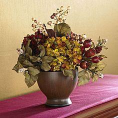 Silk Autumn Hydrangea and Round Vase $32.99  (12h x 11w x 10d)