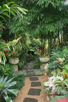 Top Tropical Backyard Garden Ideas - Tropical Garden is very popular garden style in Asia. The highlight of this garden is the refreshin - Balinese Garden, Bali Garden, Diy Garden, Shade Garden, Dream Garden, Garden Paths, Garden Ideas, Backyard Ideas, Backyard Shade