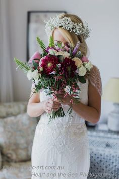 Country elegance and beauty, bridal bouquet and baby's breath flower crown. vineyard wedding, country chic, relaxed unstructured bouquet