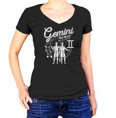 Women's Vintage Gemini Vneck T-Shirt - Juniors Fit