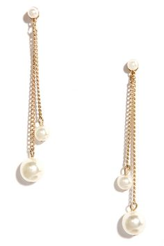 Disarmingly Charming Gold and Pearl Earrings at Lulus.com!