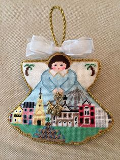 Charleston angel ornament with charm ~ Canvas design by Painted Pony
