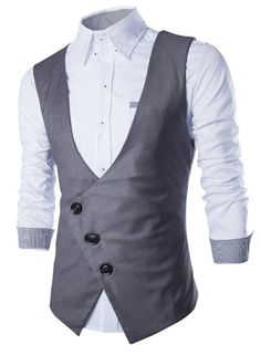 Solid Color Oblique Placket Slimming V-Neck Sleeveless Fashion Cotton Blend Waistcoat For Men