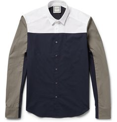 Wooyoungmi Contrast-Panelled Cotton Shirt   MR PORTER