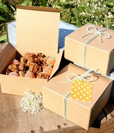 Brown Kraft Boxes - Set of SIX 4x4x2 Square Candy Boxes for Party Favors, Candy and Treats