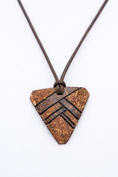 """Art Pendant """"Soldier"""" from Coconut Shell wood carving  gift for him ethno natural pendant brown pendant orange pendant coconut pendant - $28.00 USD"""