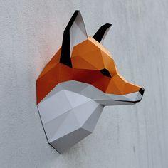 Tête de renard papercraft modèle DIY imprimable par WastePaperHead