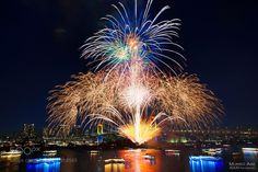 """Tokyo fireworks festival by AOUEI from http://500px.com/photo/202918565 - It is a fireworks festival held in Tokyo Bay every December. It will be held at Odaiba Beach Park. Fireworks can be seen from any part of the park. Where do you think the best places for the best recommended tourism? It is from a ship floating in the sea. This ship is named """"YAKATA - BUNE Yakatabo"""". The interior of the ship can dine and drink. You can participate in a cruising tour while watching Tokyo's night view…"""
