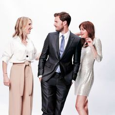 New Outtake of Jamie Dornan, Sam-Taylor Johnson and Dakota Johnson for Fifty Shades of Grey Promotional Photoshoot.