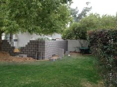 Front courtyard walls in process